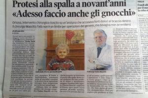 Protesi spalla anziana 90 anni